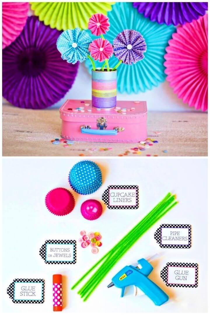 DIY Paper Flowers Using Cupcake Liners