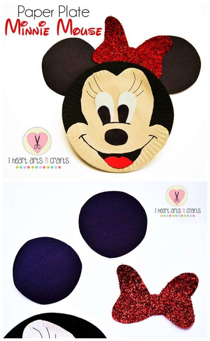 DIY Paper Plate Minnie Mouse Kids Craft