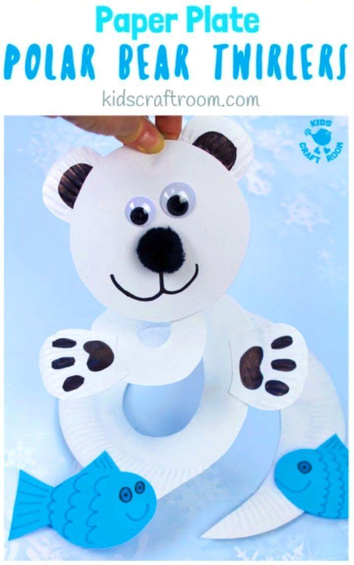 DIY Paper Plate Polar Bear Twirler
