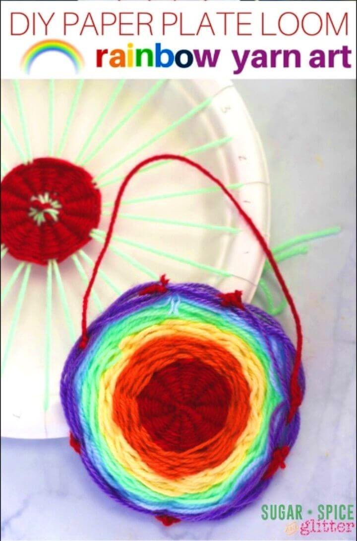 DIY Paper Plate Rainbow Yarn Art