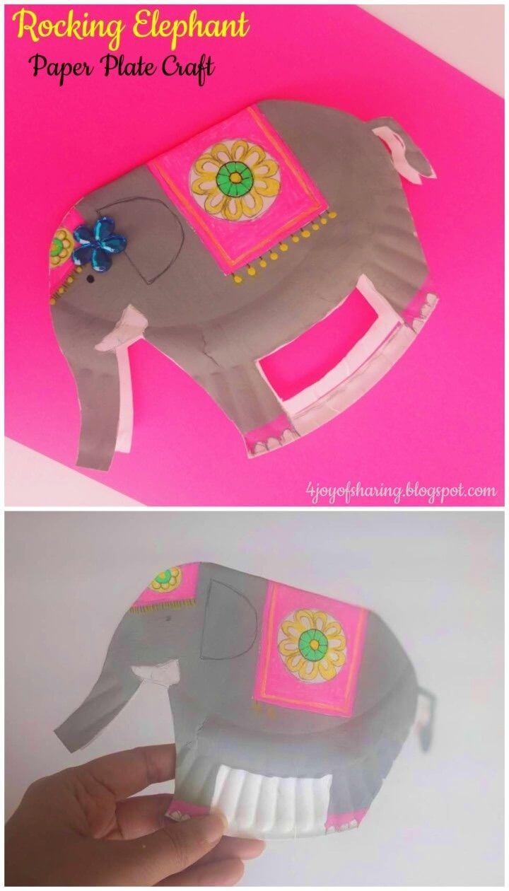 DIY Paper Plate Rocking Elephant Craft For Kids