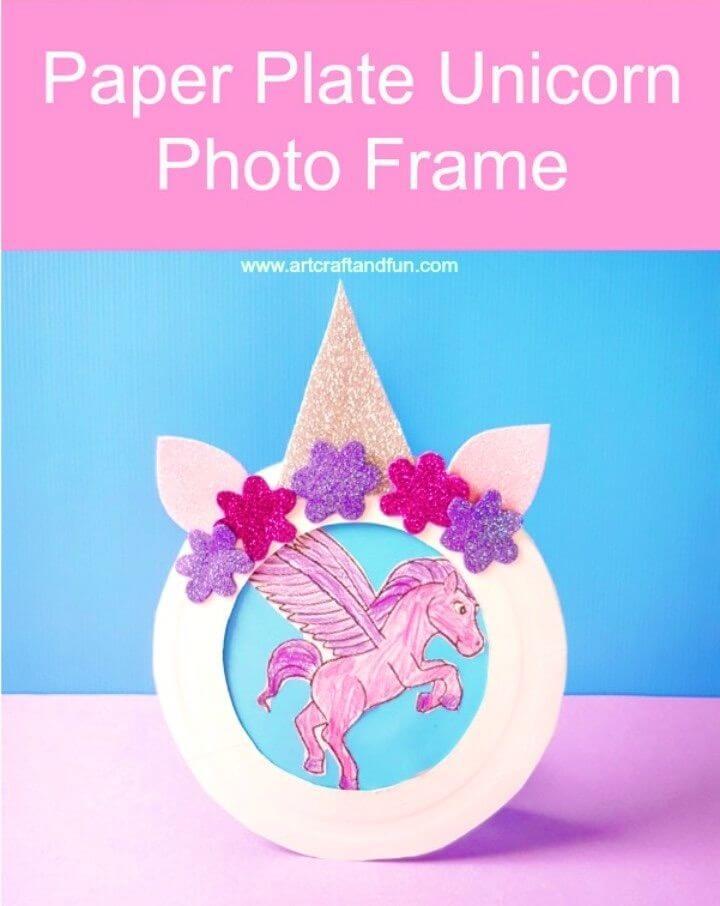 DIY Paper Plate Unicorn Photo Frame