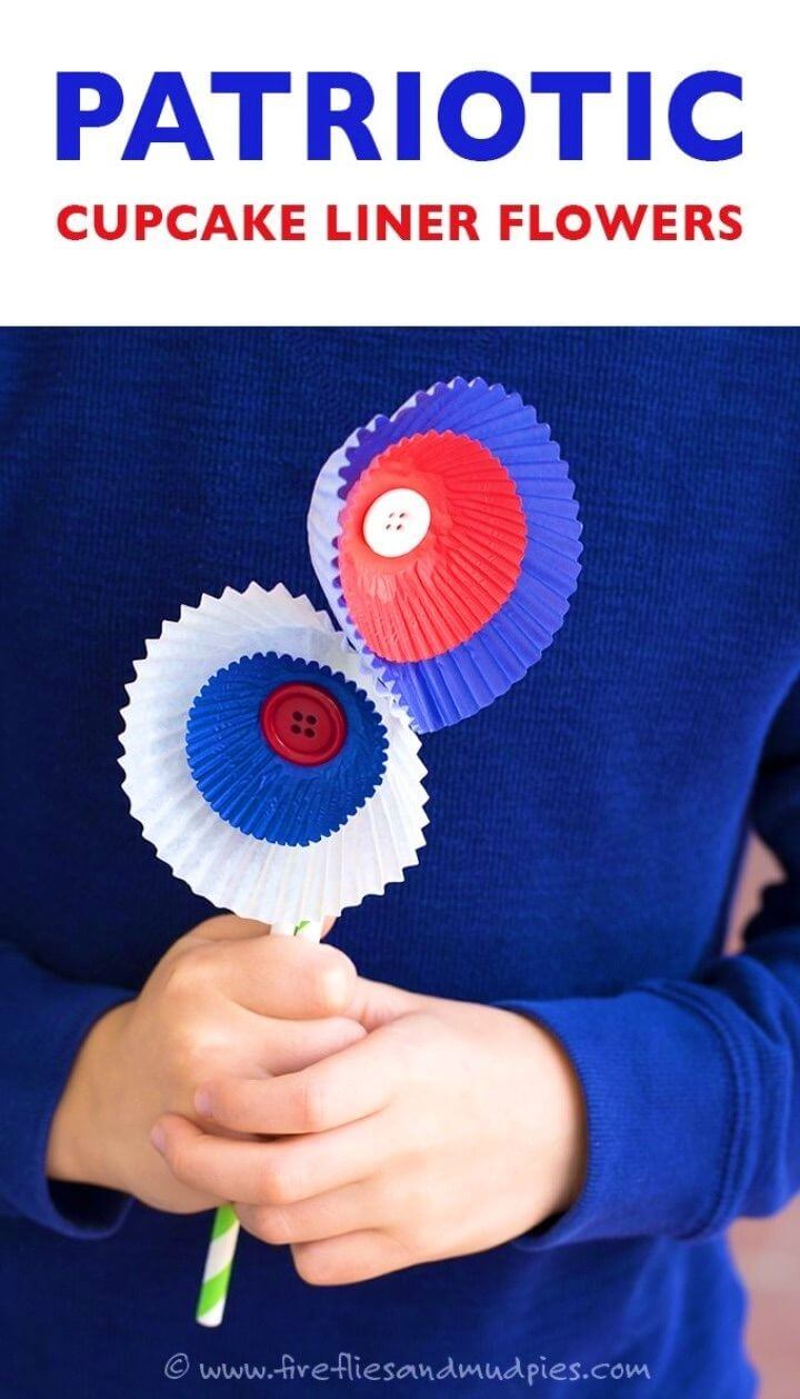 DIY Patriotic Cupcake Liner Flowers