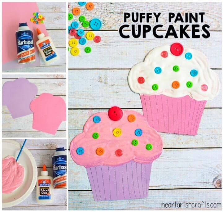 DIY Puffy Paint Cupcake Craft For Kids