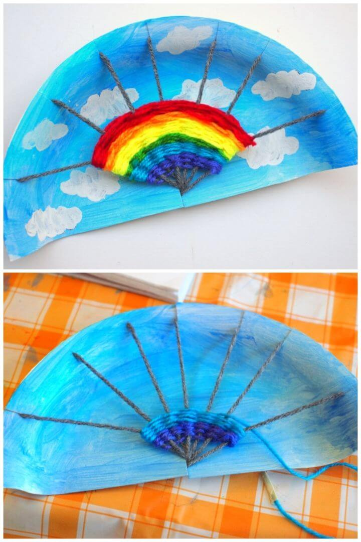 DIY Rainbow Paper Plate Weaving Project