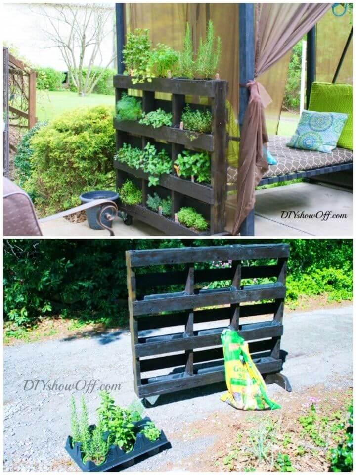 DIY Standing Pallet Herb Garden