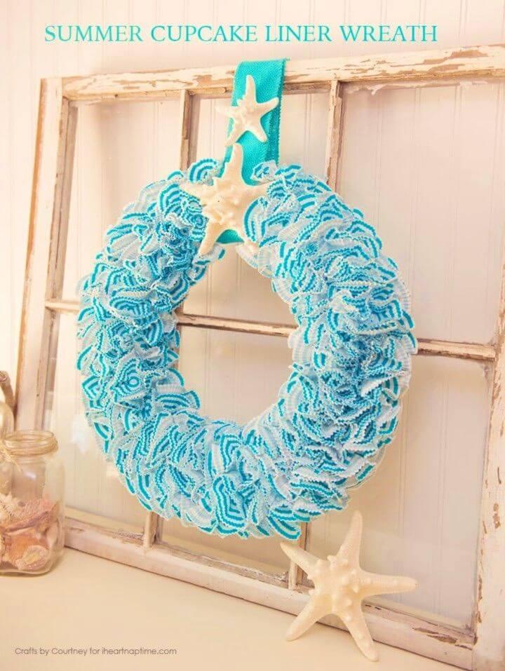 DIY Summer Wreath Using Cupcake Liners