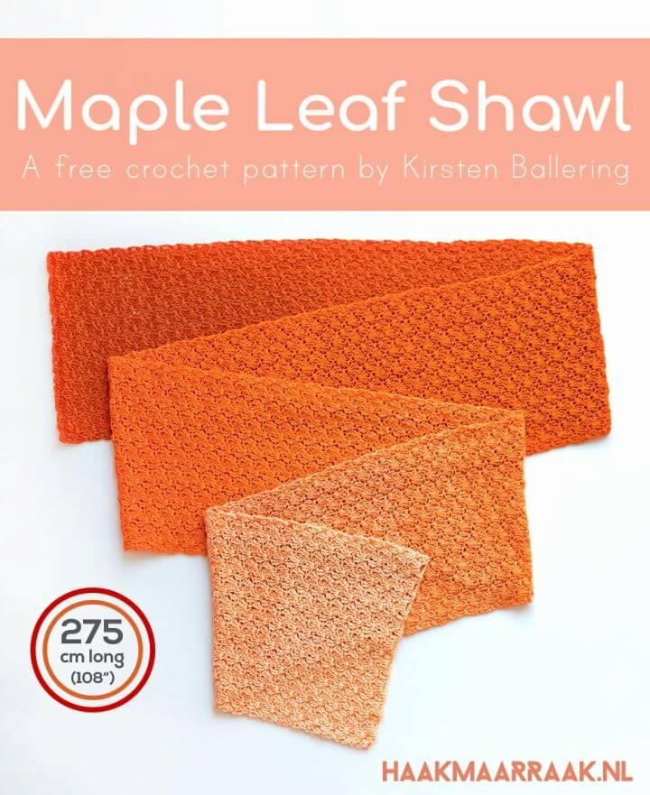 Easy Crochet Maple Leaf Shawl Free Pattern