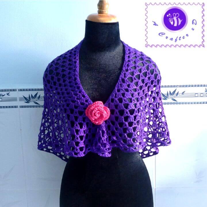 Easy Crochet Purple Glam Shawl Free Pattern