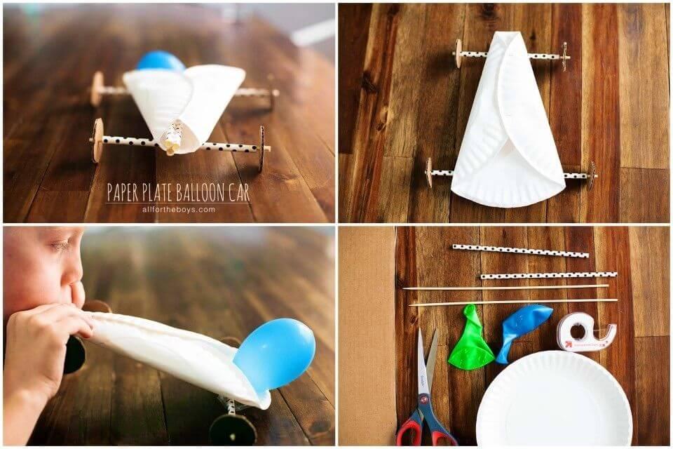 Easy DIY Paper Plate Balloon Car