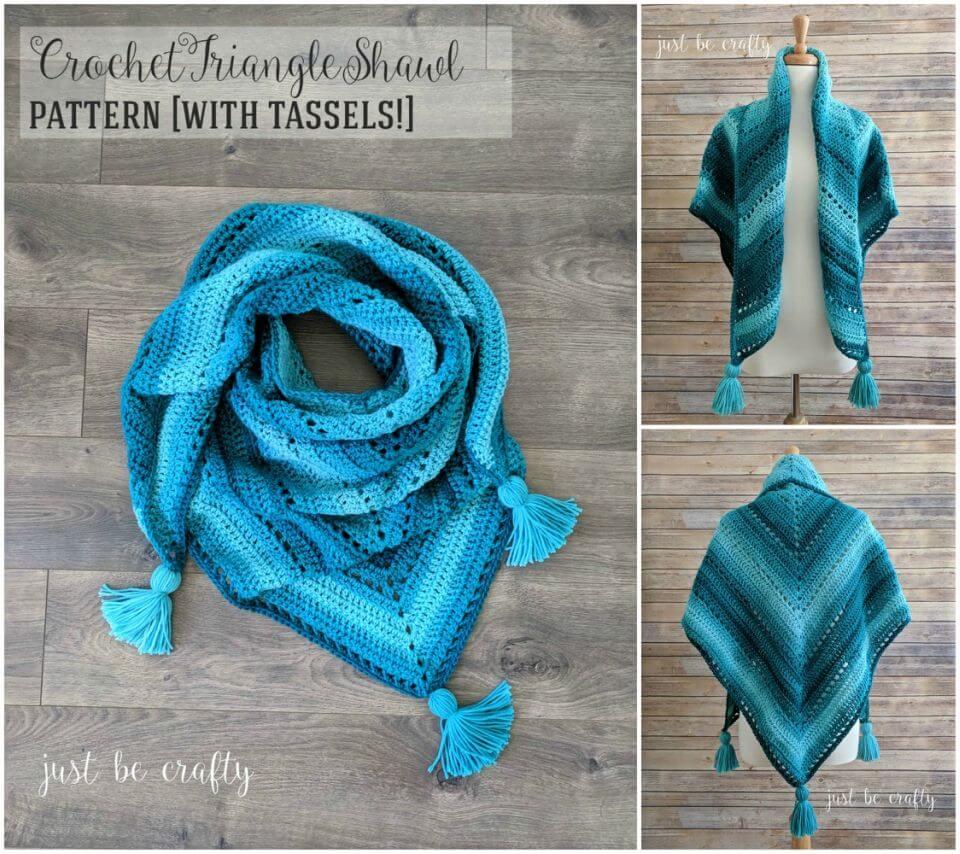 Easy to Crochet Triangle Shawl Free Pattern