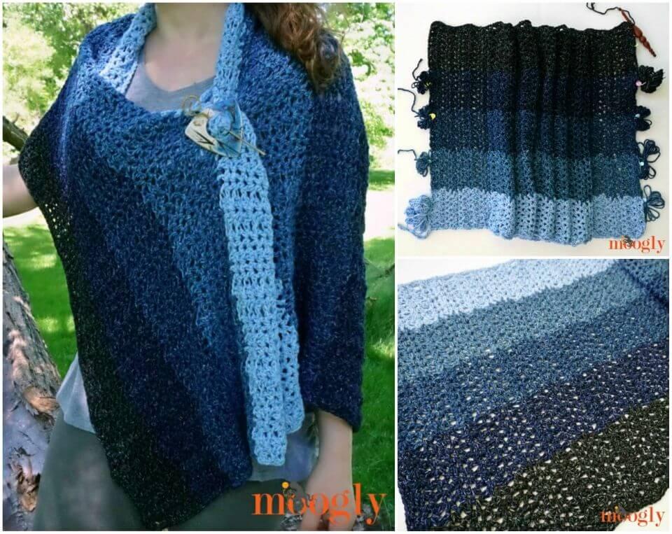 Free Crochet Denim Ombre Wrap Pattern