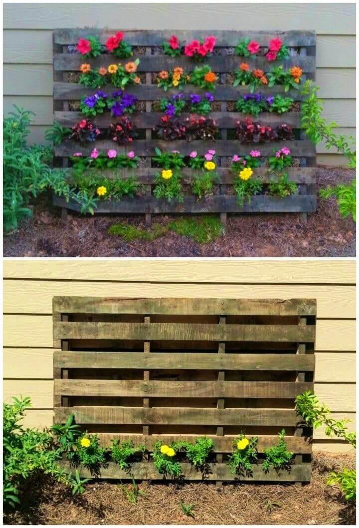 Great Space saver DIY Pallet Flower Garden