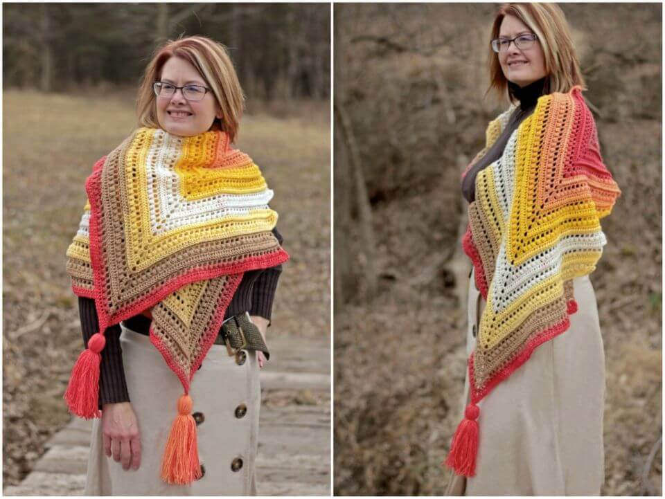 How to Crochet Wrap Me in Sunshine Shawl