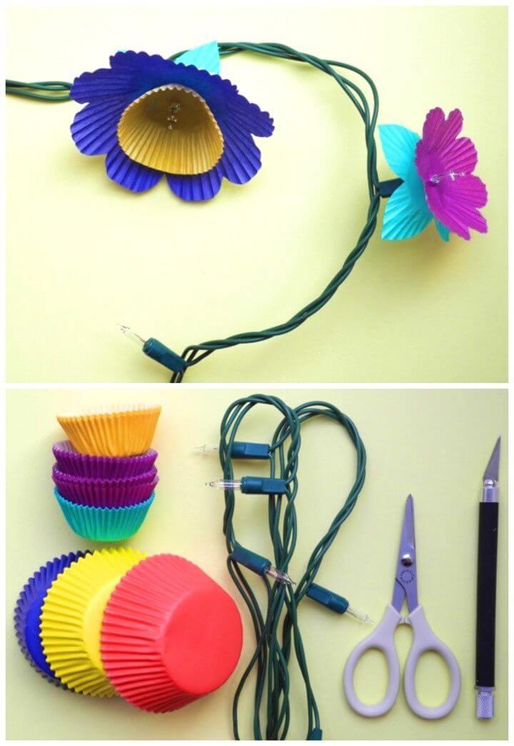 How to Make Cupcake Flower Lights