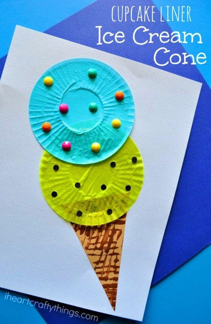 How to Make Cupcake Liner Ice Cream Cone Kids Craft