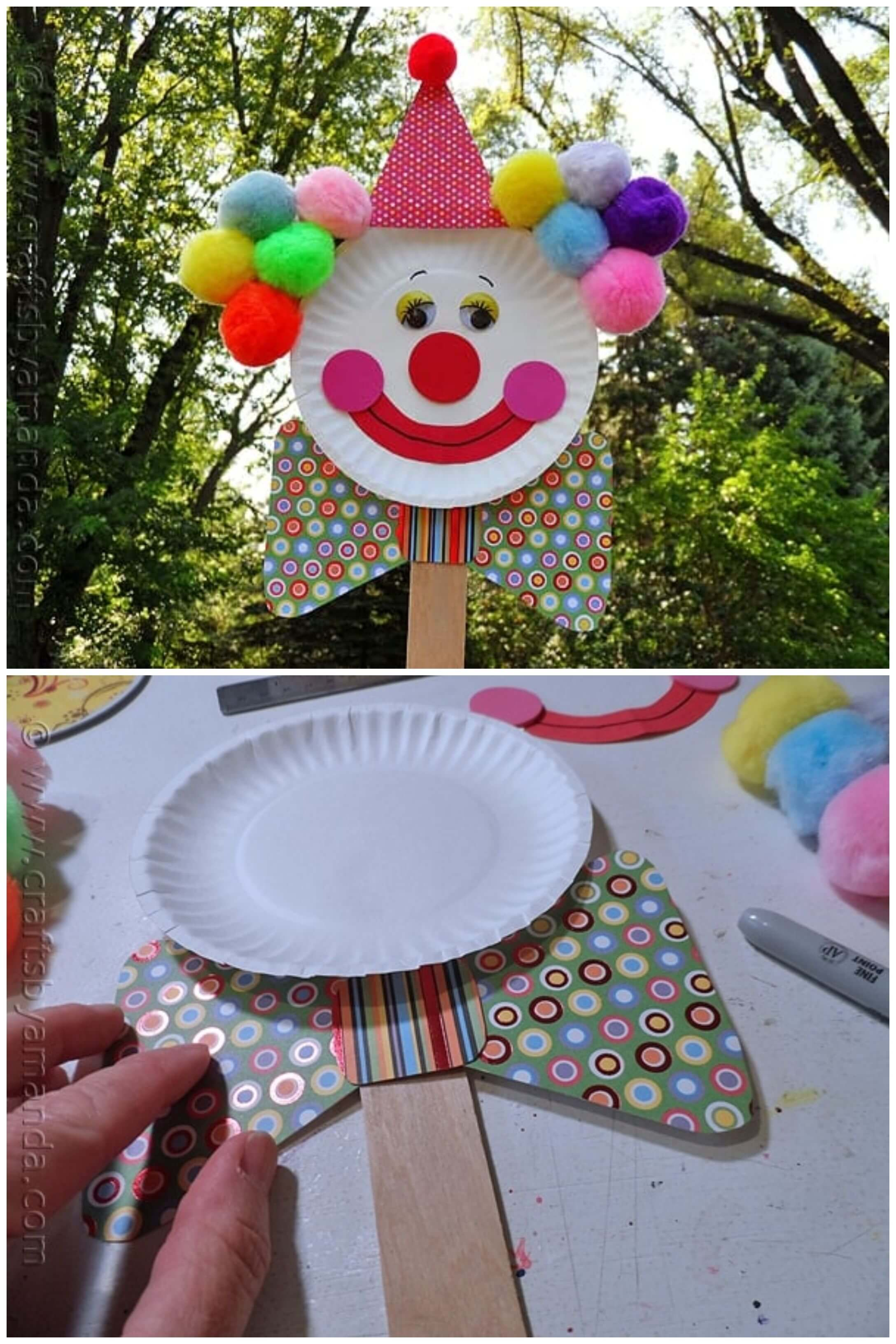 How to Make Paper Plate Clown Puppet