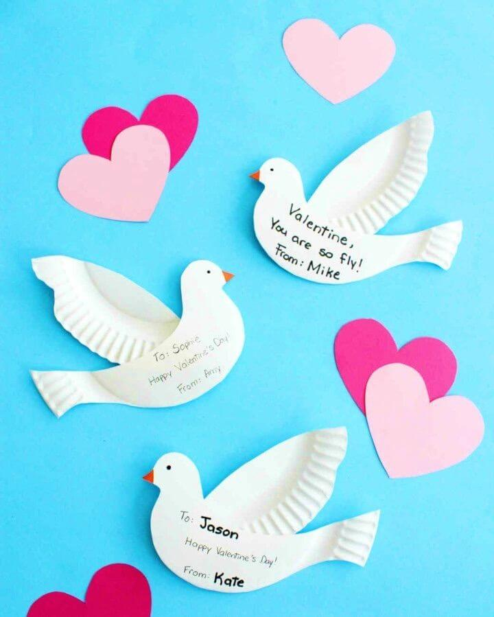 Kid friendly DIY Paper plate Dove Valentines
