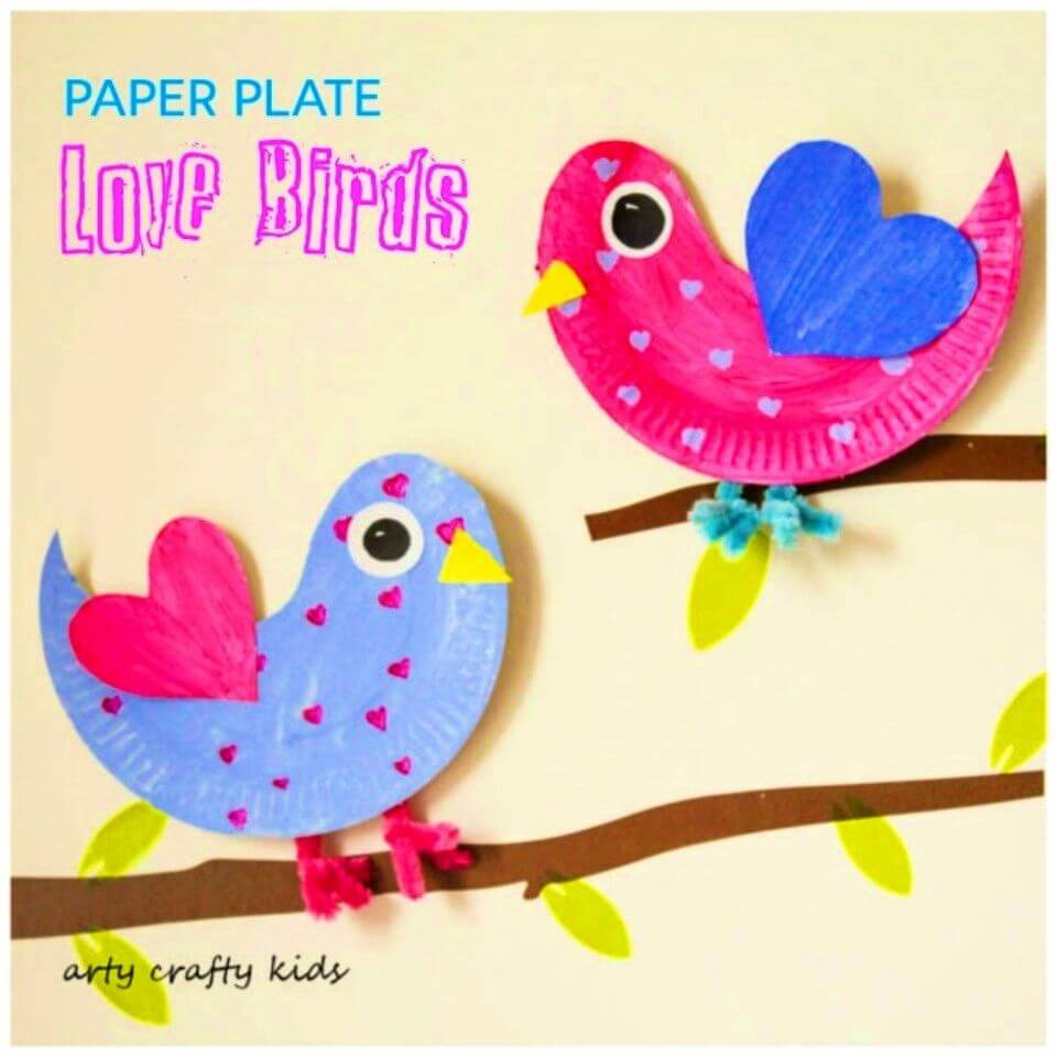 Lovable DIY Paper Plate Love Birds