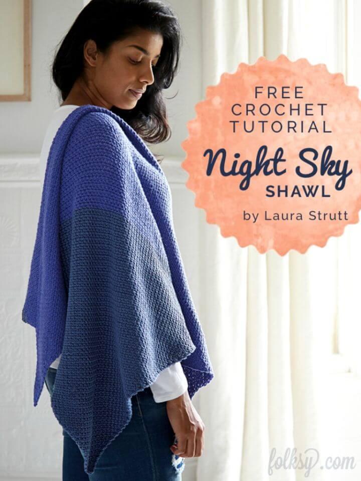Make Night Sky Shawl Free Crochet Pattern