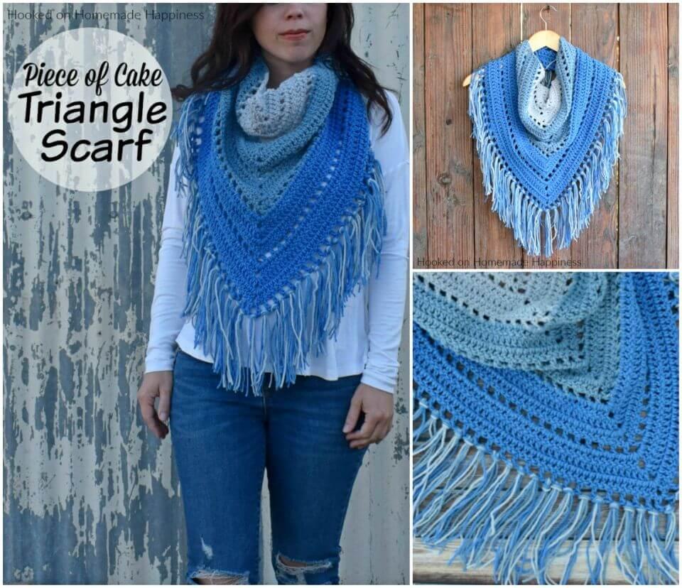 Make Piece of Cake Triangle Scarf Free Crochet Pattern