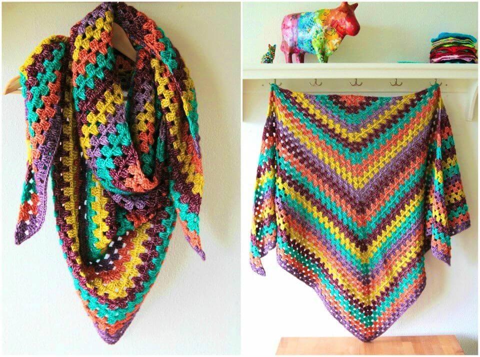 Quick Crochet XL Granny Winter Shawl Free Pattern