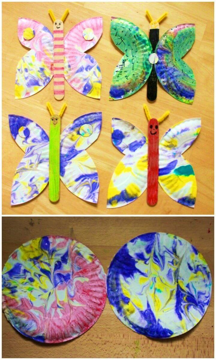 Simple DIY Marbled Paper Plate Butterfly Craft